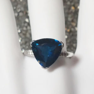 Trillion London Blue Solitaire 5+ct St Silver Ring